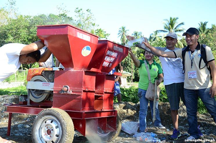 Plastic and bottle shredder at Maitum dumpsite